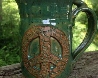 Peace Mug - Coffee Tea Mug with peace sign.  Green