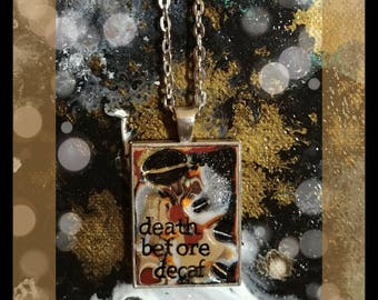 Coffee Lovers Death Before Decaf Pendant Necklace