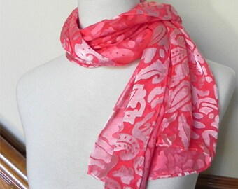 "Silk scarf rose red Devore satin hand dyed silk scarf 14""x 58"" is ready to ship silk scarf #422"