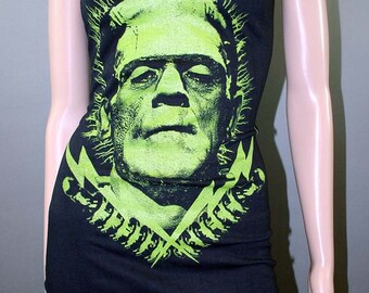 Frankenstein Monster Lightening Bolt Tank Top Dress Horror Halloween