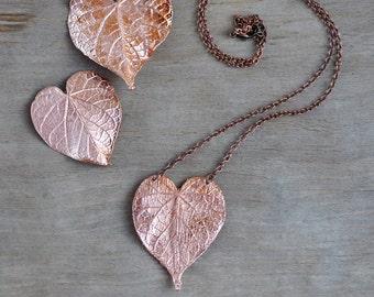 Real ipomoea leaf pendant, electroformed heart leaves, copper electroform, heart necklace, metal leaf, electroforming