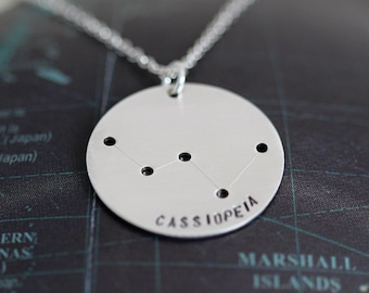 Cassiopeia Constellation Necklace, Sterling Silver Cassiopeia Necklace, Astronomy Jewelry