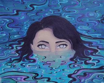Water Woman - Surreal Water Protector Spirit - surrealism painting, art print, original artwork - Paula Loomis Art