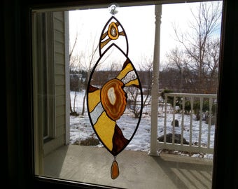 Agate and Stained Glass window hanging