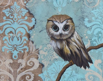 Owl Art, title Blue Eyes – Archival Paper Reproduction MOUNTED to wood panel, Owl Print, Original Owl Art