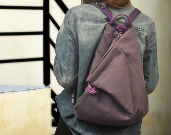Kalliope Junior,  triangle backpack  in purplish canvas-leather  MADE TO ORDER