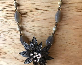 Filigree flower focal, gray agate, Czech glass, Swarovski bicones and chatons