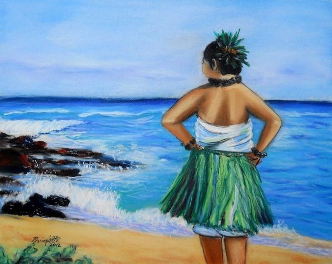Hula Girl, hula dancer, Hawaiian hula, hula dancing, beach, Kauai beach, Kauai ocen art, Kauai hula painting, grass skirt, Hawaii art
