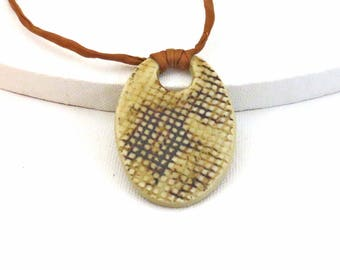 Beige Brown Ceramic Pendant Necklace, Rust Silk Cord, Loop and Button Closure with Handmade Ceramic Beads, Jewelry