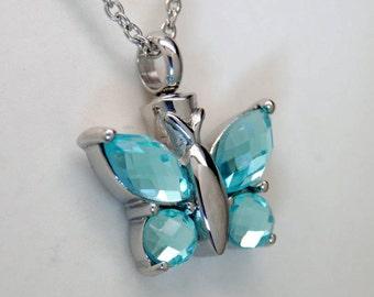 Blue Topaz Color CZ Butterfly Cremation Urn Necklace || Ashes Keepsake || December Birthstone