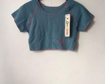 vintage danskin crop top womens size small deadstock NWT 80s made in USA