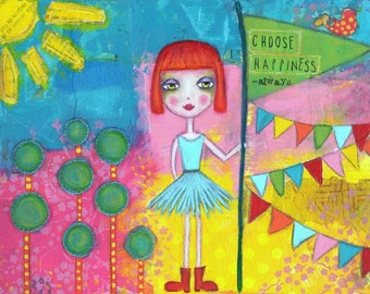 ART PRINT Choose Happiness mixed media whimsical art print A4 size Free  Local Postage