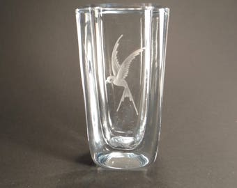 Vintage Strombergshyttan Crystal Vase with Hummingbird Engraving