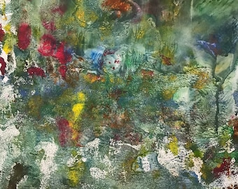 Abstract Painting, Mixed Media Paper, 14x17, Green Abstract