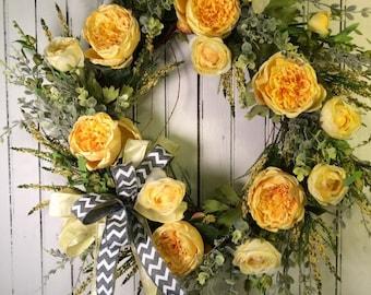 Spring Yellow Wreath, Yellow Wreath for Door, Spring Door Wreath, Yellow and Gray Chevron Wreath