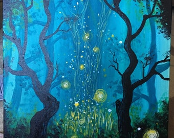 Original Hand Painted Acrylic on Canvas - Enchanted Forest - 12x16 or 16x20