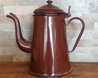 French Enamelware - Vintage Enamelware - French Enamel - French Pitcher - Vintage Pitcher - Enamel Coffee Pot - Vintage Coffee Pot - Rustic