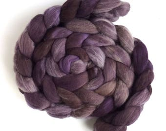 Smoky Amethyst, Rambouillet Wool Roving - Hand Painted Spinning or Felting Fiber