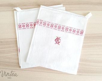 Set of 2 x French Antique Napkins, Tea Towels,Hand Embroidered, Monogram CM,Linen, Vintage, 1900