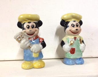 Mouse Ornaments, Mickey Style, Chef Mice, Vintage Ornaments, Ceramic Mouse, Little Mouse, Chef Gift, Cartoon Style.
