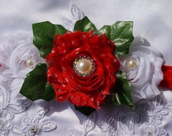 Red and White Headband - Christmas Headband - Newborn - Baby - Baby Girl Headband