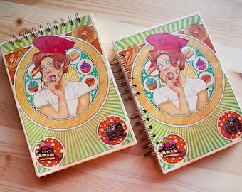 "Notebook ""Sweet pinup""  fantasy colour pages, white pages , for drawing, witch, 150 pages, big, sketchbook, notebook, perfect gift"