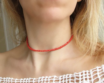 Red Choker Necklace Red Beaded Choker Dainty Necklace Layered Choker