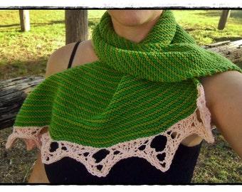 Knitted shawl, knit scarf, handknit, shawl, winter wear, neck, knit, green
