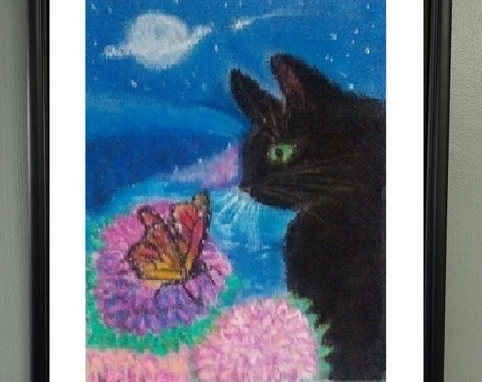 """PRINT of Original Pastel Artwork, """"Kitty Discovers Butterfly"""""""