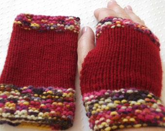 Fingerless Gloves Red Knitted Gloves Cold Winter Accessory Unique Holiday Stocking Idea Cellphone Accessory Snow Playing Ice Skating