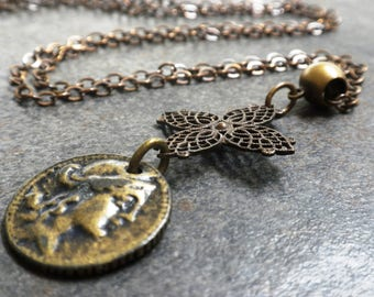Ready to Ship Bohemian Jewelry Old Coin Necklace Brass Pendant