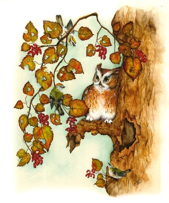 Watercolor - Owl Art -  Illustration Print
