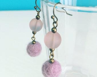 Newport Felt Earrings in Lilac, Purple Dangle Earrings, Felt Balls, Recycled Glass, Eco Friendly, Best Friend Gift, Statement Jewelry