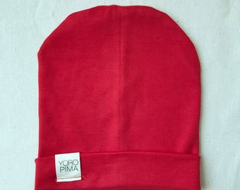 Red Hot Slouchy Beanie | Super Soft Pima Cotton | Size Newborn - Adult