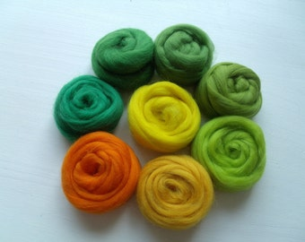"Set of 8 colors ""Yellow-green"" wool felting or spinning Merino 80g"