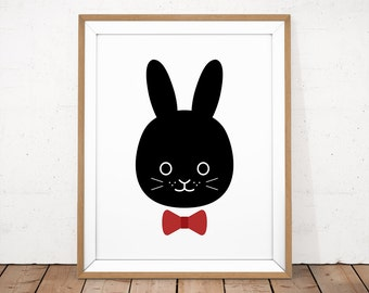 Nursery Animal Art, Baby Animal Nursery, Rabbit printable, Black Rabbit Print, Animal Illustration, Black White Nursery, Bow Tie Rabbit