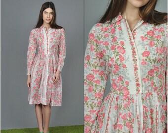 1950s Pink Carnation dress | vintage 1950s dress | pink floral white cotton 50s dress