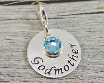 Hand Stamped Jewelry - Personalized Jewelry - Charm For Bracelet - Sterling Silver Circle - Godmother - Lobster Clasp or Slider Bail