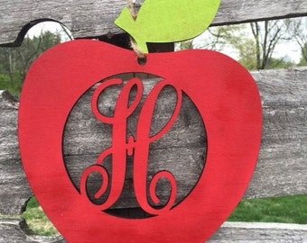End of year teacher gift. First day of school, teacher apprecition gift, PAINTED monogram apple-