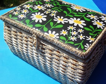 Dritz Retro Large Woven w/ Daisy Interior and Lid