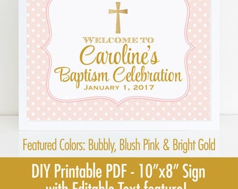 Baptism Welcome Sign, Printable 10x8 EDITABLE TEXT PDF, Blush Pink Gold Glitter Baptism Decor Christening Religious Confirmation Decorations