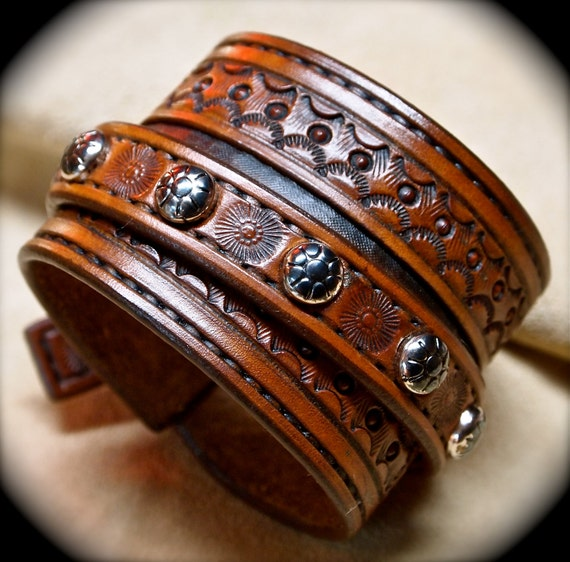 Leather cuff bracelet Custom hand tooled Suntan brown Made for YOU in USA by Freddie Matara