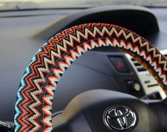 Double-sided aztec steering wheel cover – Hippie car accessory, tribal automobile wheel cover, car decor – car gift idea for her, for him