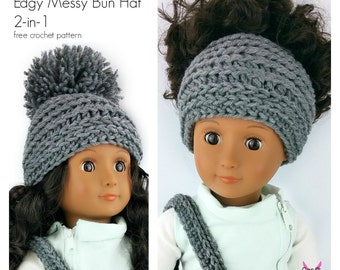 """Crochet Hat Pattern - My Dolly Edgy Beanie Messy Bun Hat 2-in-1 crochet pattern 18"""" doll pattern Crochet Pattern toy"""