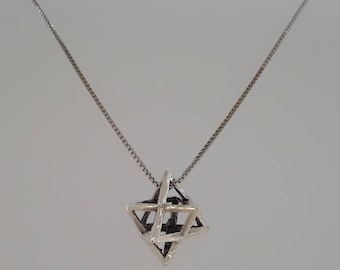 Sterling Silver Star of David 925 Necklace Magen David 3D Unique Charm