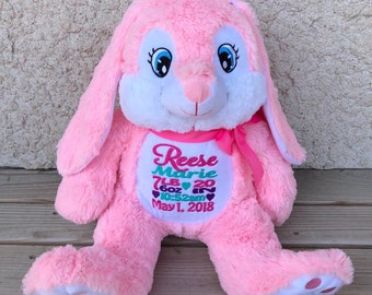 Personalized Stuffed Animal, Personalized Bunny Pink, Keepsake Birth Stat or Name, Personalized Bunny Stuffed Animal
