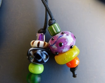 Purse Charm with Pink Lampwork Bead