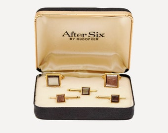Formal After Six Cufflink and Stud Set Gold Filled Moonstone Tuxedo Formalwear Accessories by Rudofker