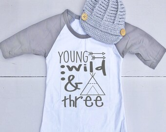 3rd Birthday Outfit for Boy - 3rd Birthday Shirt for Boy - Third Birthday Outfit for Boy - Third Birthday Shirt for Boy - Young Wild & 3