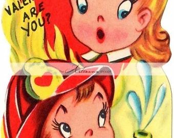 Printable Instant Download - Retro Vintage Valentine's Day Card Image - Paper Crafts Scrapbook Altered Art - Humorous Fire Fighter Valentine